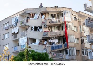 Izmir, Turkey - November 02, 2020 : Collapsed building in earthquake. Earthquake on 30 October 2020 in The Aegean sea affected buildings in Izmir. Building damaged in Bayrakli, Izmir.