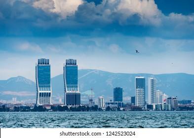 Izmir, Turkey - November 28, 2018 : New skycrapers district of Izmir City view from Karsiyaka. Izmir is the third biggest city of Turkey.