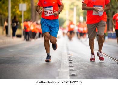 Izmir, Turkey - October 04, 2020. Running people at Marathon Izmir competition in ızmir Turkey.
