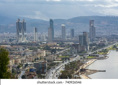Izmir, Turkey - October 24, 2017 : New skycrapers district of Izmir City view from Bayrakli Hill. Izmir is the third biggest city of Turkey.