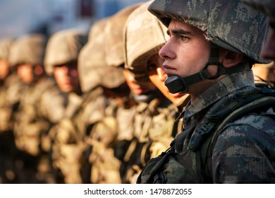 Izmir, Turkey - October 29, 2015. Soldiers are waiting in line. Republic day of Turkey.