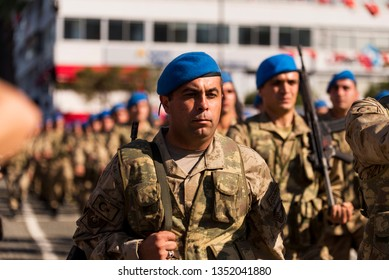 Izmir, Turkey - October 29, 2018: Turkish Commandos walking with military step In Izmir Turkey on Republic day of Turkey 29 October 2018.
