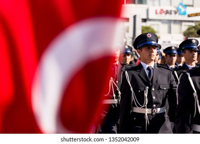 Izmir, Turkey - October 29, 2018: Students of Police Academy lockstep walking on the Republic Day of Turkey which is 29 October. In Alsancak Izmir Turkey.