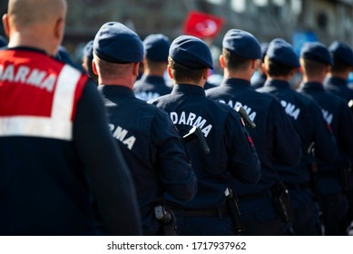 Izmir, Turkey - October 29, 2019: Turkish Gendarme Military walking on the Republic day of Turkey at Izmir Turkey.