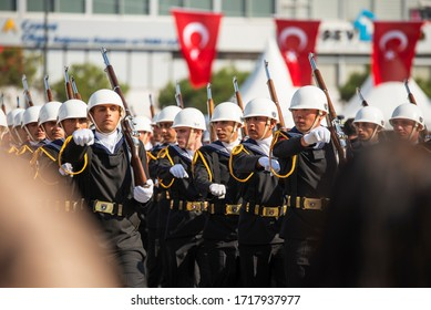 Izmir, Turkey - October 29, 2019: Blue uniformed Turkish Navy Soldiers on Military walking at Alsancak Izmir Turkey and it is Republic day of Turkey.