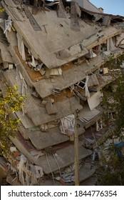 Izmir, Turkey - October 31, 2020 Earthquake on 30 October 2020 in The Aegean sea affected buildings in Izmir. Building damaged in Izmir Bayrakli Manavkuyu district.