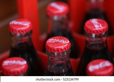 IZMIR TURKEY - OCTOBER 6, 2016. Close up of Coca Cola soft drinks bottles. Coca Cola drinks are produced and manufactured by The Coca-Cola Company, an American multinational beverage corporation.