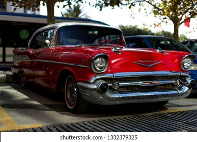 Izmir, Turkey - September 23, 2018: Front view of a red colored 1957 Chevrolet