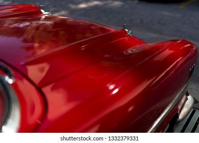 Izmir, Turkey - September 23, 2018: Front side detail of a red colored 1957 Chevrolet Izmir Turkey.