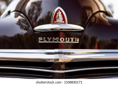 Izmir, Turkey - September 23, 2018: Emblem of a Black colored 1948 Plymouth Deluxe car Izmir Turkey.