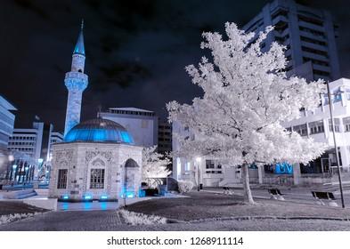 izmir yali cami camii holy mosque konak meydani square minare infrared photo with snowy trees