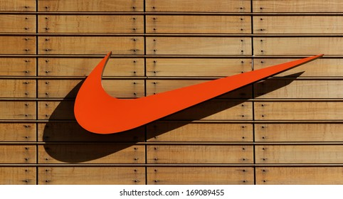 IZMIR,TURKEY - NOVEMBER 27: Exterior of a sporting goods store displaying  Nike  on November 27, 2013 in Izmir, Turkey. Name from Nike, the goddess of victory in Greek mythology gets.
