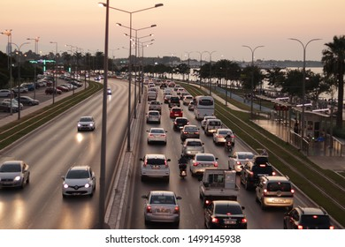 Izmir/Turkey-08/16/2019: Traffic Jam of Çeşme highway. Traffic volume increase towards to Çeşme Friday evenings and Sunday arrival way to Izmir.