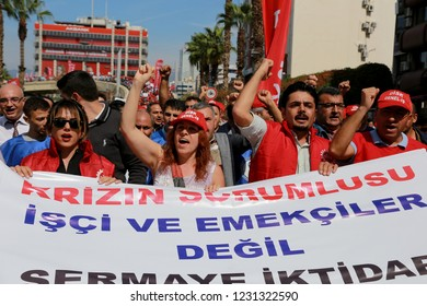 "Izmir/Turkey-October 3, 2018: Workers who are member of trade union went on strike against economic crisis. President of union says ""we won't pay the debt of banks"""