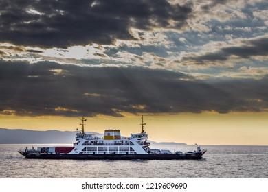 Izmit Eskihisar, Yalova Topcular, / Turkey - October 26 2018: Eskihisar - Topcular Car ferry, ferry boat. Halidere Ferryboat
