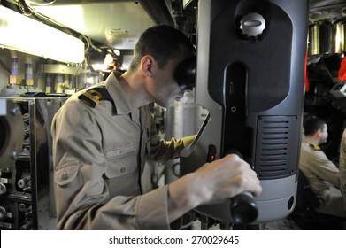 IZMIT, TURKEY - May 21, 2014 -  Military exercises  Turkish Navy, the Marmara Sea on May 21 2014  in Izmit, Turkey. Soldiers inside the submarine