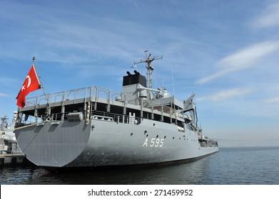 IZMIT, TURKEY - May 24, 2014 - Military exercises Turkish Navy, the Marmara Sea on May 24, 2014 in Izmit, Turkey. Warships