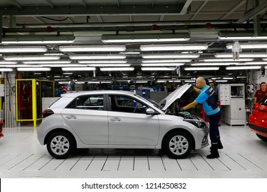 IZMIT, TURKEY - OCTOBER 2018. Hyundai Assan car factory. The ceremony was held on 20 September 1997. The i10 and i20 cars are produced.
