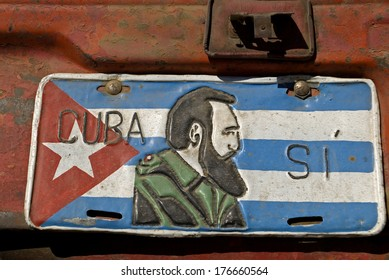 IZNAGA, CUBA - JANUARY 26: Fidel Castro on 26 January, 2014, Iznaga, Cuba. The former leader of the country is respected everywherem his portrait can be seen all over the country.