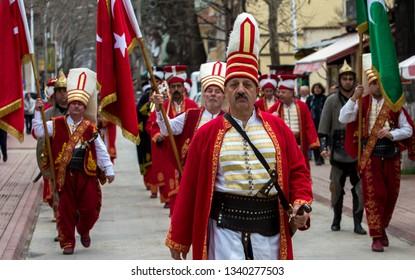 Iznik, Bursa / Turkey - February 9th, 2019: Mehter Company Parade.
