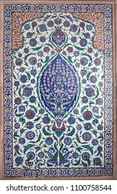 Iznik lapis tiles with floral pattern in the tomb of Selim II in Istanbul, Turkey