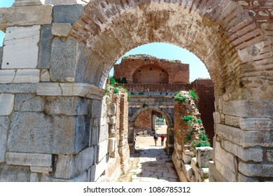 IZNIK, TURKEY - APRIL 22, 2018 : Historical stone walls and doors of Iznik, Bursa. These walls are from Roman and Byzantine times and are still standing.