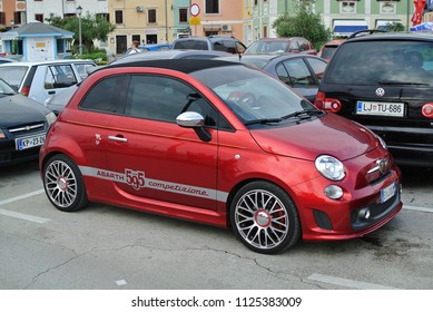 IZOLA, SLOVENIA - JULY 1, 2018: FIAT 500 Abarth 595 Italian sport compact car on the street