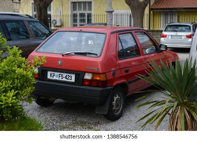 IZOLA, SLOVENIA - MARCH 21, 2016: Skoda Favorit LX popular East European 1980s compact car designed by Bertone made in Czechoslovakia pictured on the modern city street