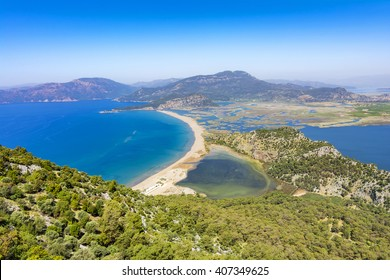 Iztuzu Beach and Dalyan panorama view from mountain