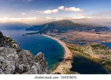 IZTUZU beach in Dalyan, Turkey from above