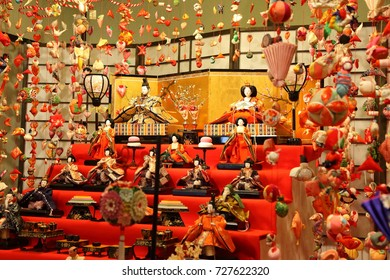 Izu Inatori, Japan- February 27, 2017: Hanging Hina Doll Festival. Hina Dolls are handmade dolls that are displayed in the earlier part of the year to celebrate good health and growth for young girls.
