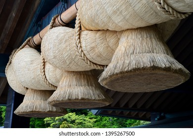 IZUMO,JAPAN /MAY 1,2019: A big sacred rope or shimenawa which is consists of a rice-straw rope at Izumo Grand Shrine, Japan