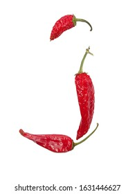 J letter of alphabeth with red pepper isolated on a white background