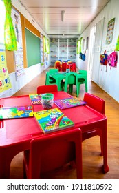 J, SOUTH AFRICA - Mar 26, 2020: Johannesburg, South Africa - November 07, 2011: Inside interior of Small Portable Preschool Classroom made from a shipping container