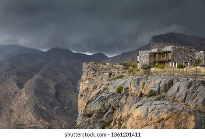 Jabal al Akhdar, Oman, 7th April 2016: storm cluds over Jebel Al Akhdar