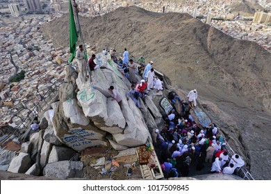 Jabal Nur, Mekah-January 26th, 2018: A crowd of people waiting to enter the Hira Cave. Hira Cave is the place where the Allah sent down first Quran verse to prophet Muhammad SAW