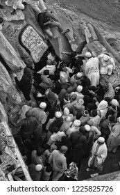 Jabal Nur,Mecca-January 26th,2018:Black and white view from top of Jabal Nur of crowd tried to enter the Hira Cave. Hira cave is where Prophet Muhammad first receive the  Quran.