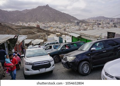 Jabal Nur,Mecca-January 26th,2018:Taxi car parked along the way to the Jabal Nur climbing area. People usually will take this transportation to Jabal Nur from Mecca which is about 10km away.