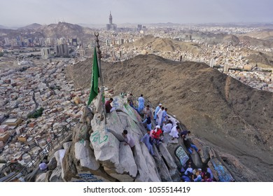 Jabal Nur,Mecca-January 27th,2018:High angle view of Hira Cave from top of Jabal Nur. Hira cave is where Prophet Muhammad SAW first receive the Quran Verse from Allah through Jibril AS.