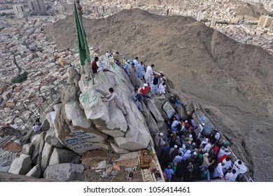 Jabal Nur,Mecca-January 27th,2018:High angle view from top of Jabal Nur of crowd tried to enter the Hira Cave. Hira cave is where Prophet Muhammad SAW receive the first verse of the holy Quran.
