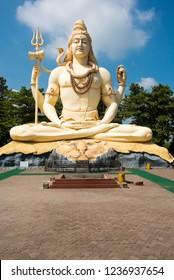 Jabalpur / India 13 October 2018 The 76 feet tall Lord Shiva statue at Kachnar City Shiva Temple in Jabalpur city central Indian Madhya Pradesh