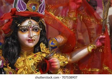 Jabalpur,Madhya Pradesh,India-September 26,2009 Durga Puja Festival in India Godess Astapuja Maha Kali Idol Jabalpur Madhya Pradesh India