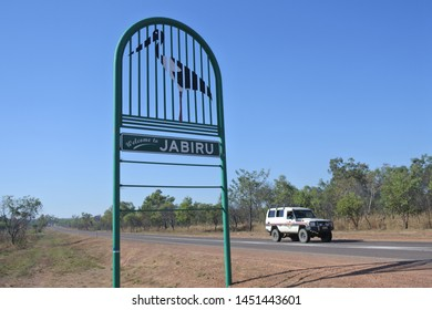 JABIRU, NT - JULY 05 2019:Welcome to Jabiru town sign.Originally built in 1982 as a closed town to house the community living at Jabiru East near the Ranger Uranium Mine and tourism hub to Kakadu Park