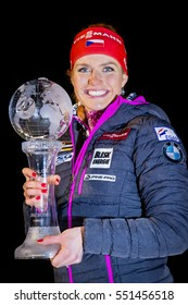 JABLONEC NAD NISOU, CZECH REPUBLIC - MARCH 23: Czech biathlete Gabriela Koukalova (now Soukalova) presents the World Cup Trophy, March 23, 2016 in Jablonec nad Nisou, Czech republic