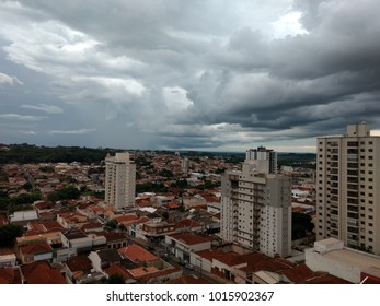 JABOTICABAL DOWNTOWN, SÃO PAULO/BRAZIL - JANUARY 2018: Aerial view of a cloud day in Jaboticabal downtown, brazilian city in São Paulo State . Jaboticabal/Brazil.