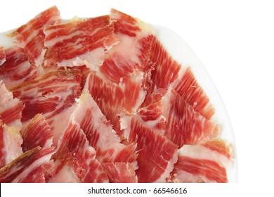 jabugo ham plate isolated on white