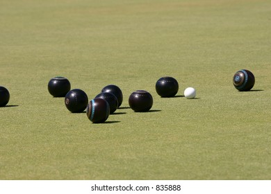 The jack being hunted by bowls