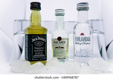 Jack Daniel's, Bacardi, Finlandia vodka in a bottle