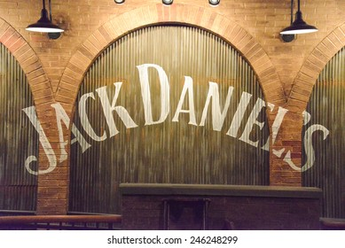 Jack Daniel's restaurant at Gaylord Opryland, Nashville Tennessee - October 13, 2013:  The name on the wall reminds the customer where they are drinking and dining when at the Jack Daniel's restaurant