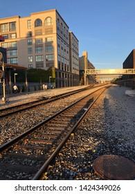 JACK LONDON SQUARE, CA, USA - JUN 10, 2019: Train Rail track of Amtrak's during subset